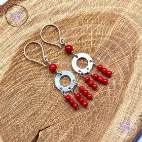 Red Coral Chandelier Earrings